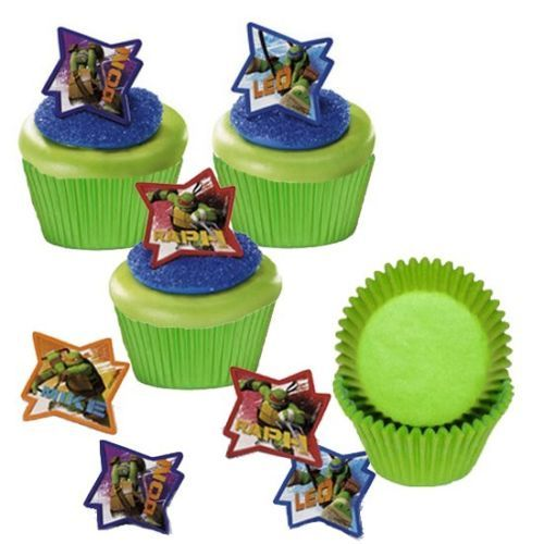 24 Ninja Turtles Cupcake Favor Rings 25 Baking Cups Set