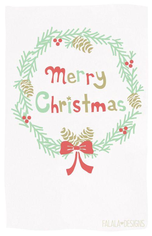 Falala Designs Christmas Wreath Card Printables Christmas