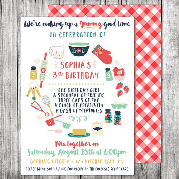 Kids Cooking Birthday Party Invitation Cooking Baking Birthday Baking Party Invite With Birthday Party Invitations Party Invitations Cooking Birthday Party