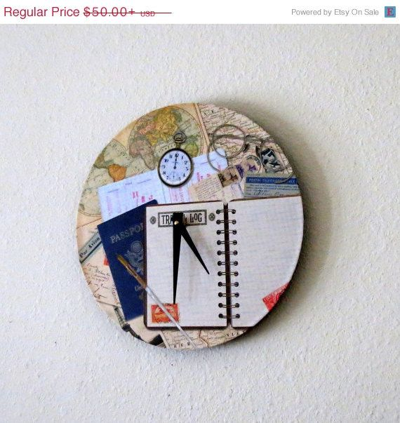 Unique Wall Clock, Travelers Clock, Recycled Art, Wall Clocks, Home