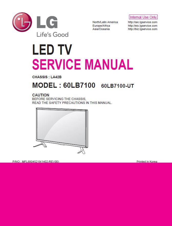 Lg 60lb7100 Ut Smart 3d Led Tv Service Manual   Schematic