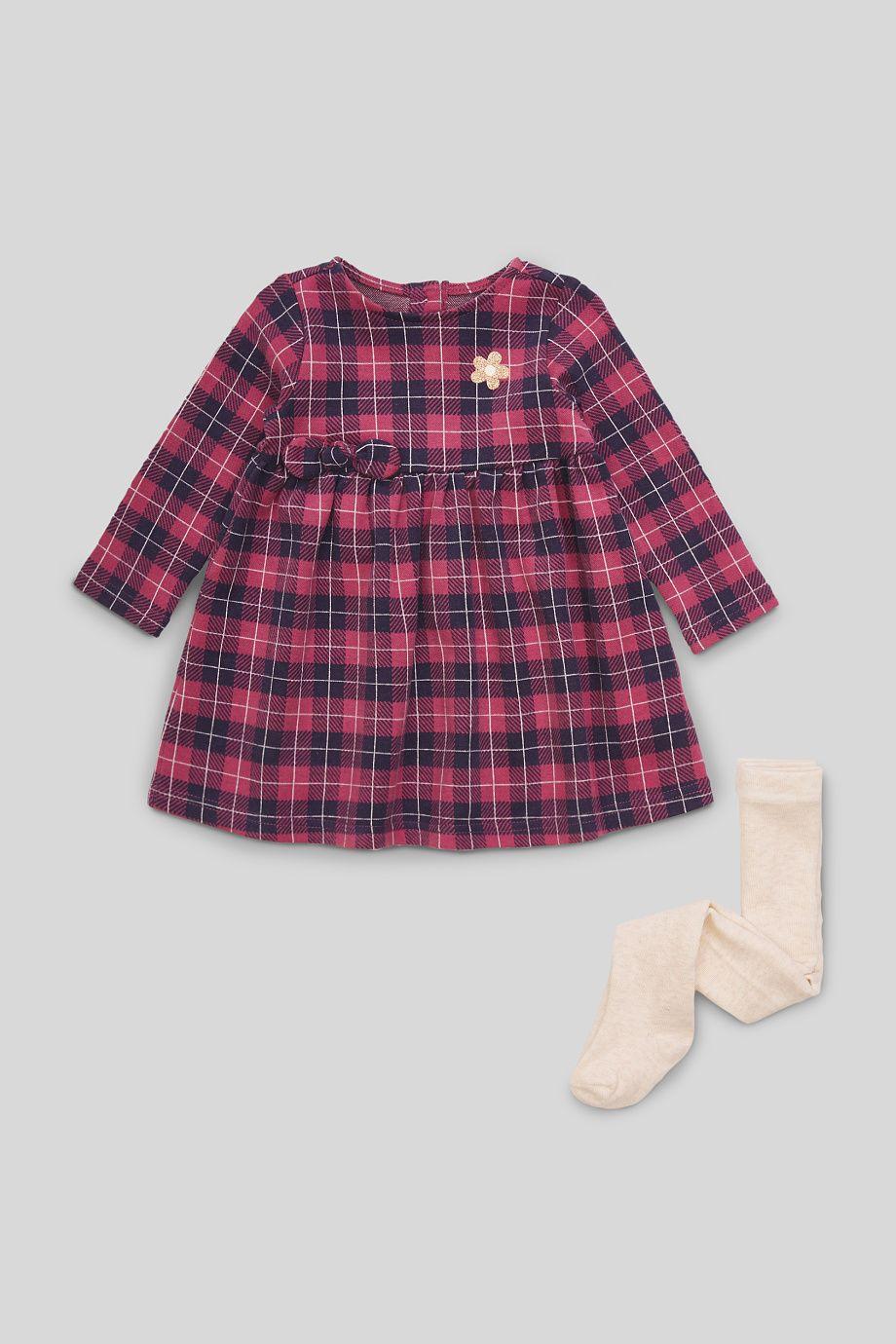 set - baby-kleid und strumpfhose | kleider set, strumpfhose
