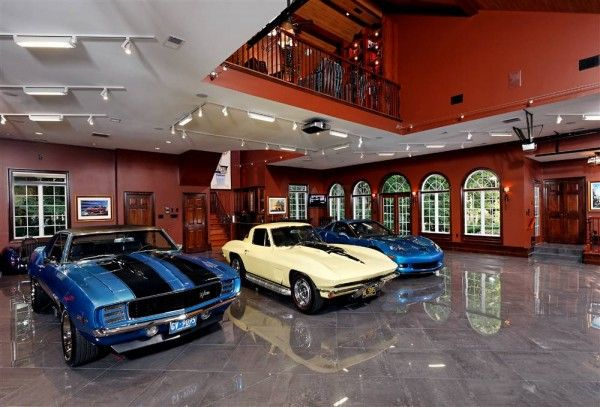 Interior Classy Car Garage Interior Design Ideas With Brown Wall