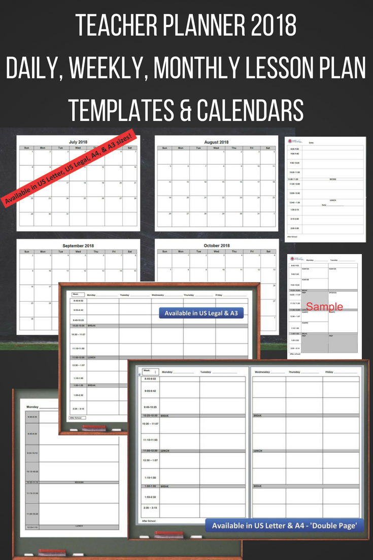 teacher planner 2018 daily weekly monthly lesson plan templates calendars