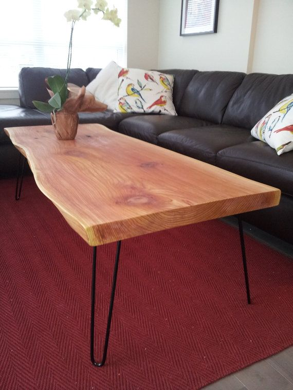 Coffee Table Live Edge Cedar Slab Mid Century Modern Hairpin