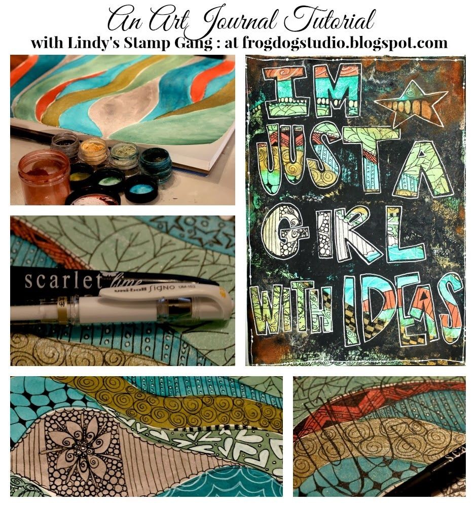 Letter It!  A monthly series...with a lot of help from Lindy's Stamp Gang and our March Mixed Media Kit!  @frogdogstudio ..blogspot.com