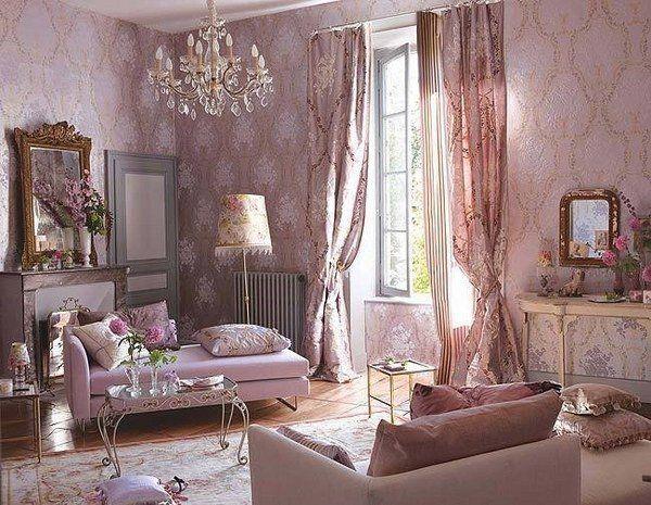 Romantisches Wohnzimmer ~ Elegant living room shabby chic style decor pastel pink interior