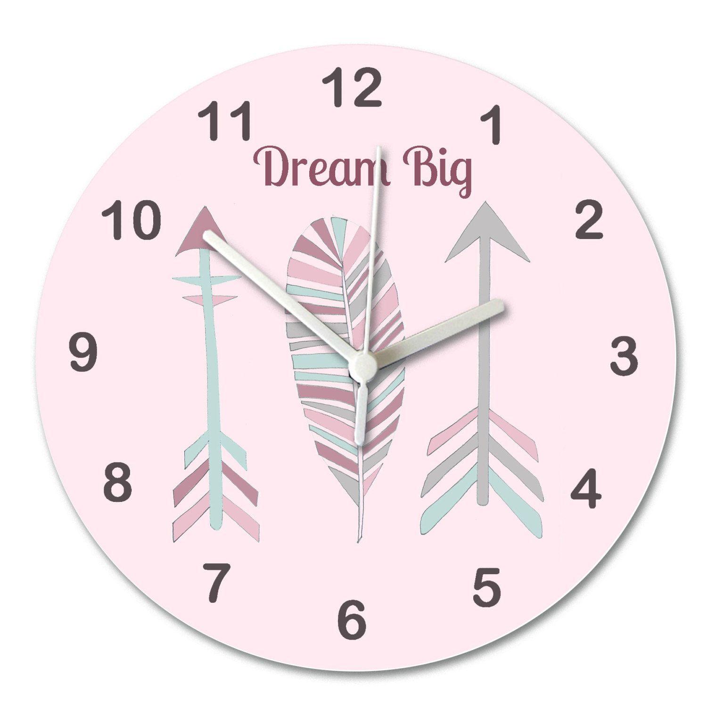 Arrow Clock Pink Grey Clock Girls Wall Clock Pastel Spot - Wall clock for kids room