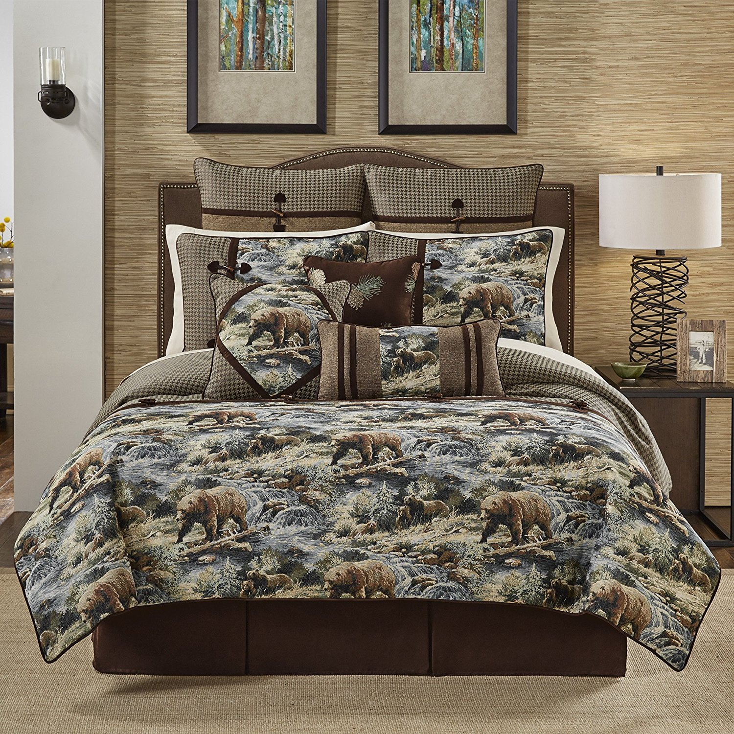 set faux pin home comforters comforter western king cabin cal brown leather lodge cabins bed pc rustic