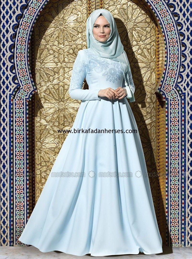 e54fa4f0de3ac açık mavi mint yeşili kloş tesettür elbise muslima wear   elbise in ...
