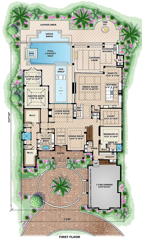 Beach Style House Plan 6 Beds 6 5 Baths 10605 Sq Ft Plan 27 462 Beach Style House Plans Mediterranean House Plans Mediterranean Style House Plans