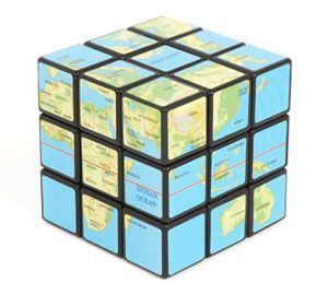 Rubiku0027s Cube Earth . Globe Or Map Version Of The Square Puzzle