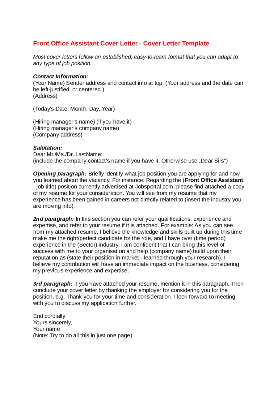 Office Assistant Cover Letter How Write For  Home Design Idea