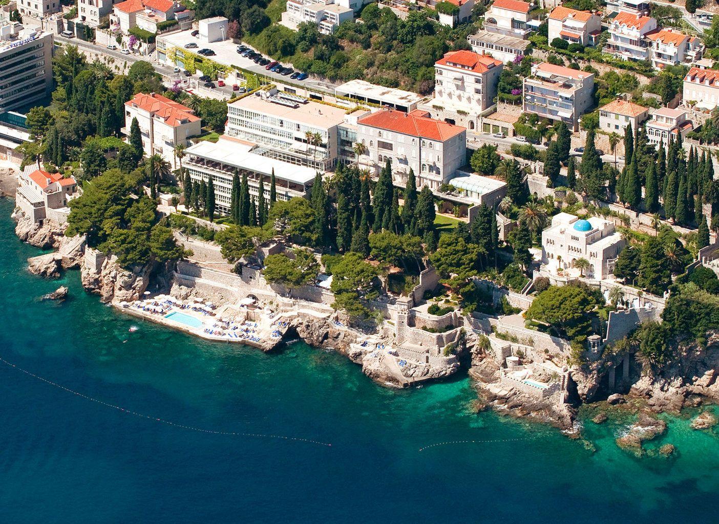 CROATIA - Grand Villa Argentina Dubrovnik, Croatia Beach Beachfront Buildings Grounds Play aerial photography bird's eye view mountain Town landmark Nature Sea Coast tourism cityscape bay marina Resort surrounded