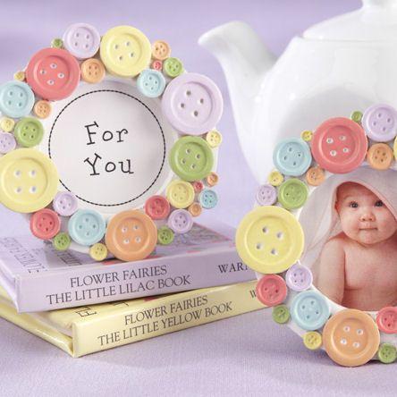 """Cute As A Button"" Baby Shower Frame Favor"