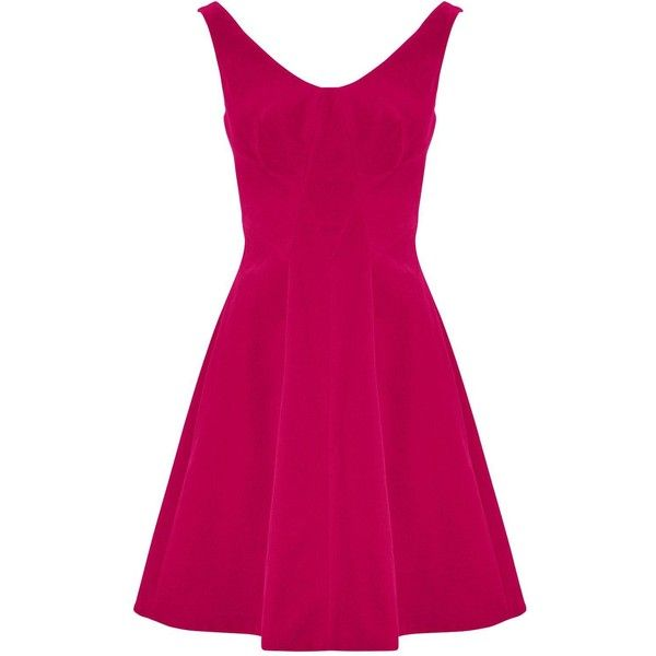 Karen Millen Velvet Dress ($86) ❤ liked on Polyvore featuring dresses, pink, scoop neck dress, karen millen dresses, velvet dress, karen millen and velvet mini dress