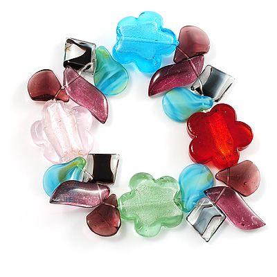 Multi-Coloured Beaded Glass Floral Flex Bracelet - main view