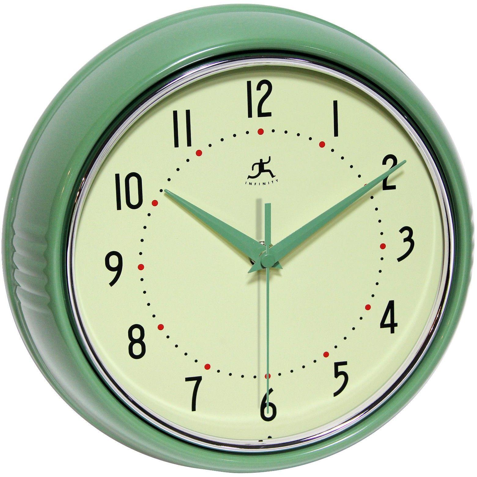 Retro Metal Wall Clock Green - Infinity Instruments | Wall clocks ...