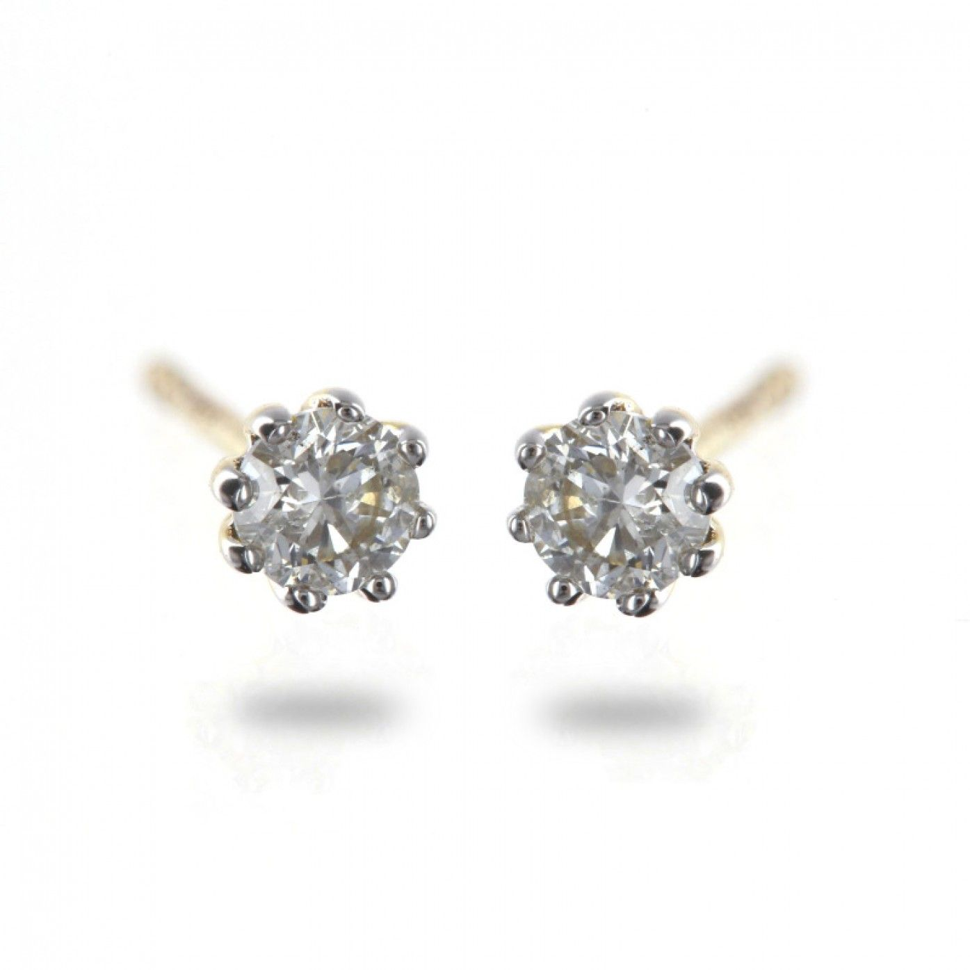 Solitaire 0 35ct 8 claw round diamond studs in 9K yellow gold