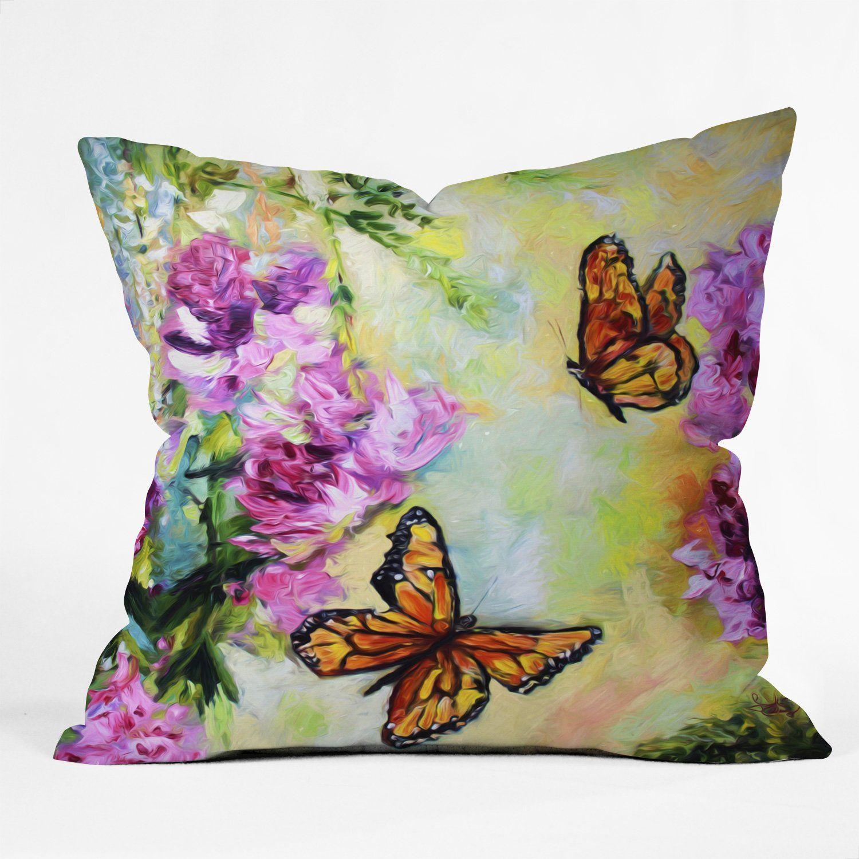 Butterflies And Peonies Throw Pillow Ginette Fine Art Fine Art Butterfly Art Deny Designs