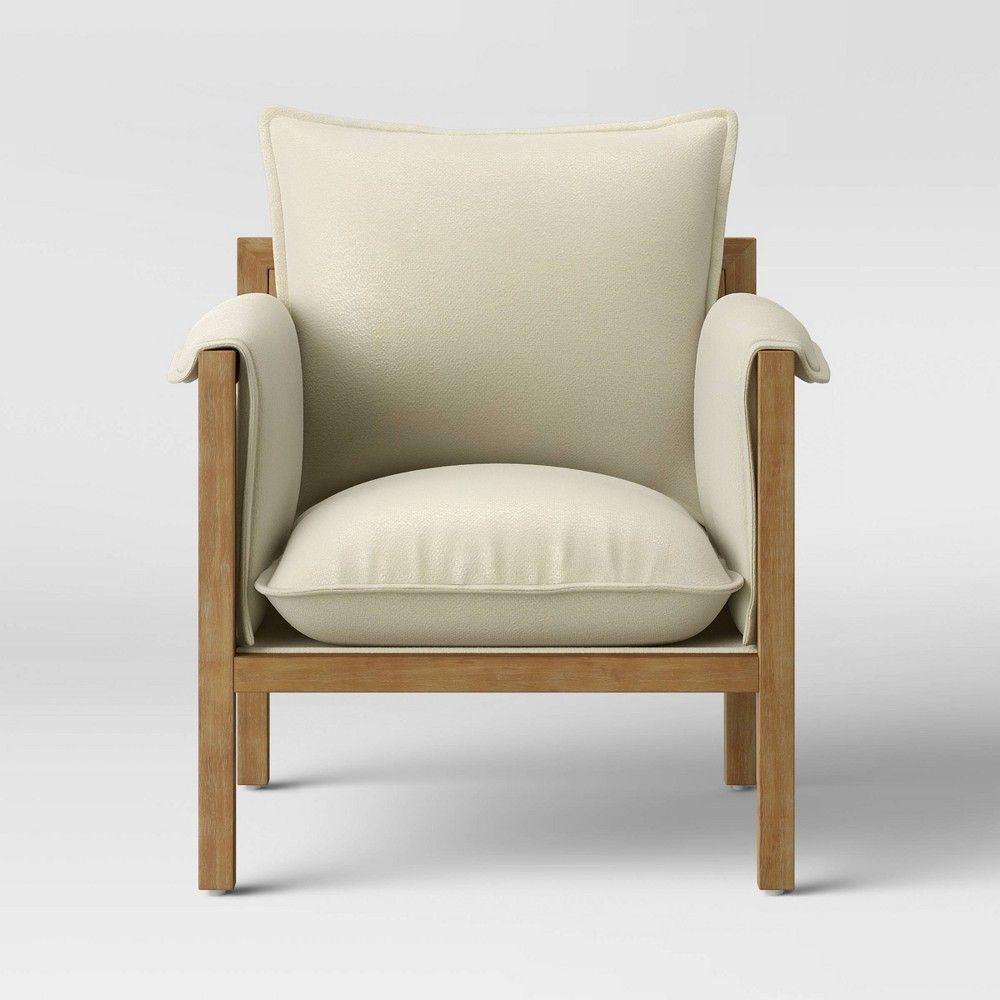 Archdale Wood And Upholstered Accent Chair Cream Threshold In