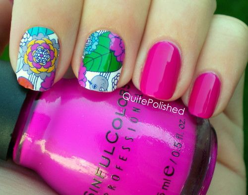 Jamberry Spring Flowers mixed with polish.  the Jamberry's will hold up longer but so FUN to mix and match