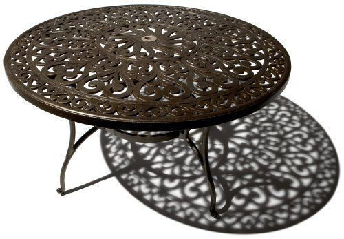 Round Patio Table Strathwood St Thomas Cast Aluminum Dining Outdoor Furniture