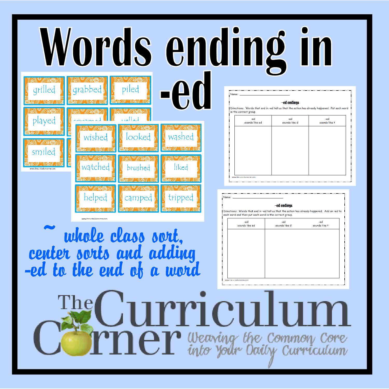 Ed Word Endings Teaching Spelling Reading Words Words [ 1500 x 1500 Pixel ]
