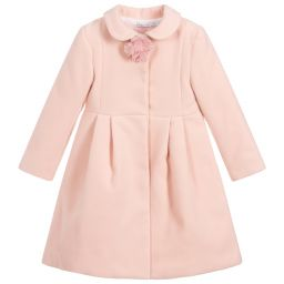 Patachou Girls Blue Velvet Trim Coat In Girls Pink Coat Pink Coat Coat