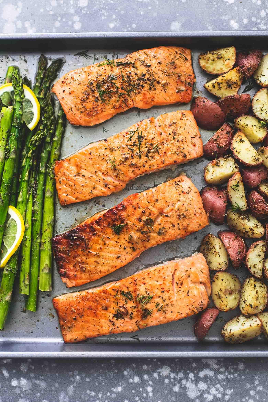 Sheet Pan Salmon and Asparagus with Potatoes | Creme De La Crumb #onepandinners