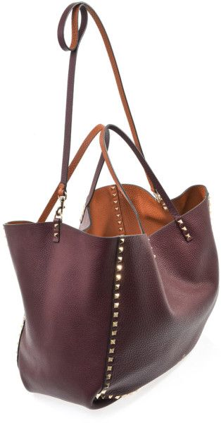 Rockstud Reversible Leather Tote Bag Lyst Bags Valentino Women