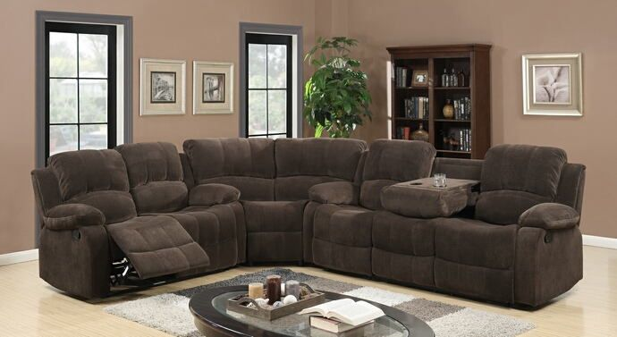 3 Pc Dominque Ii Collection Brown Fabric Upholstered Sectional Sofa
