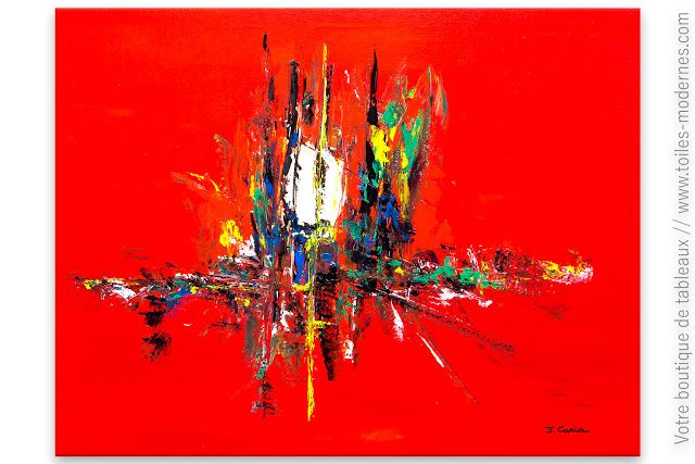 Deco design avec un grand tableau rouge d 39 art contemporain for Tableau art contemporain