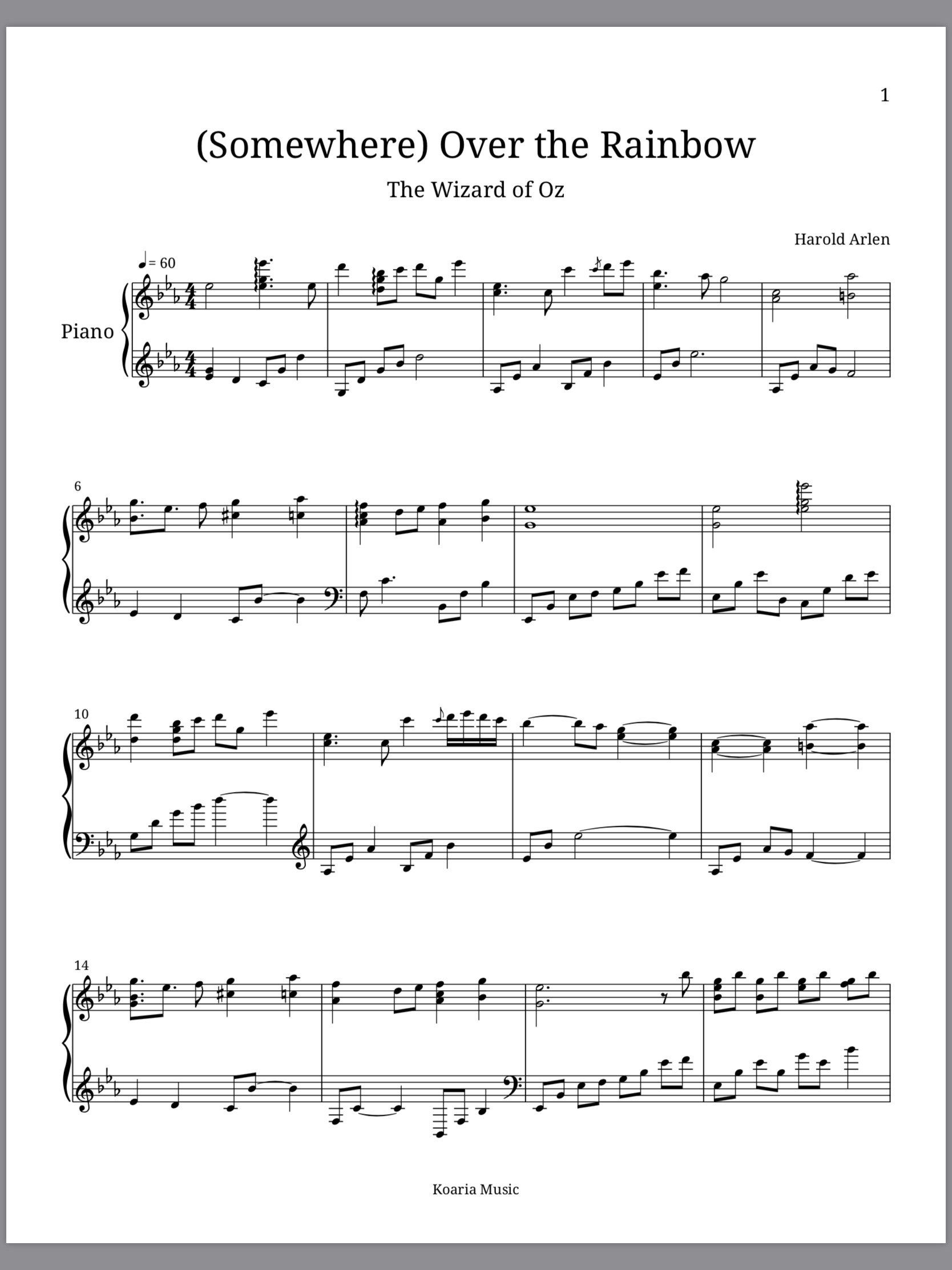 Piano Sheet Music L Somewhere Over The Rainbow