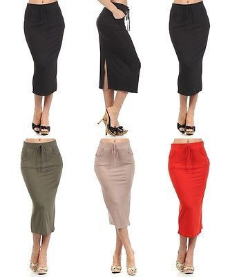 CAREER TIE FRONT A-LINE STRAIGHT JERSEY KNIT MAXI SKIRT