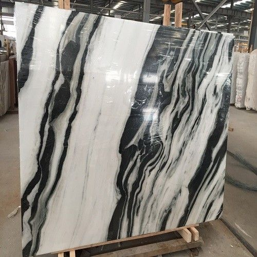 Polished White Marble Slab With Black Vein Marble Slab Black