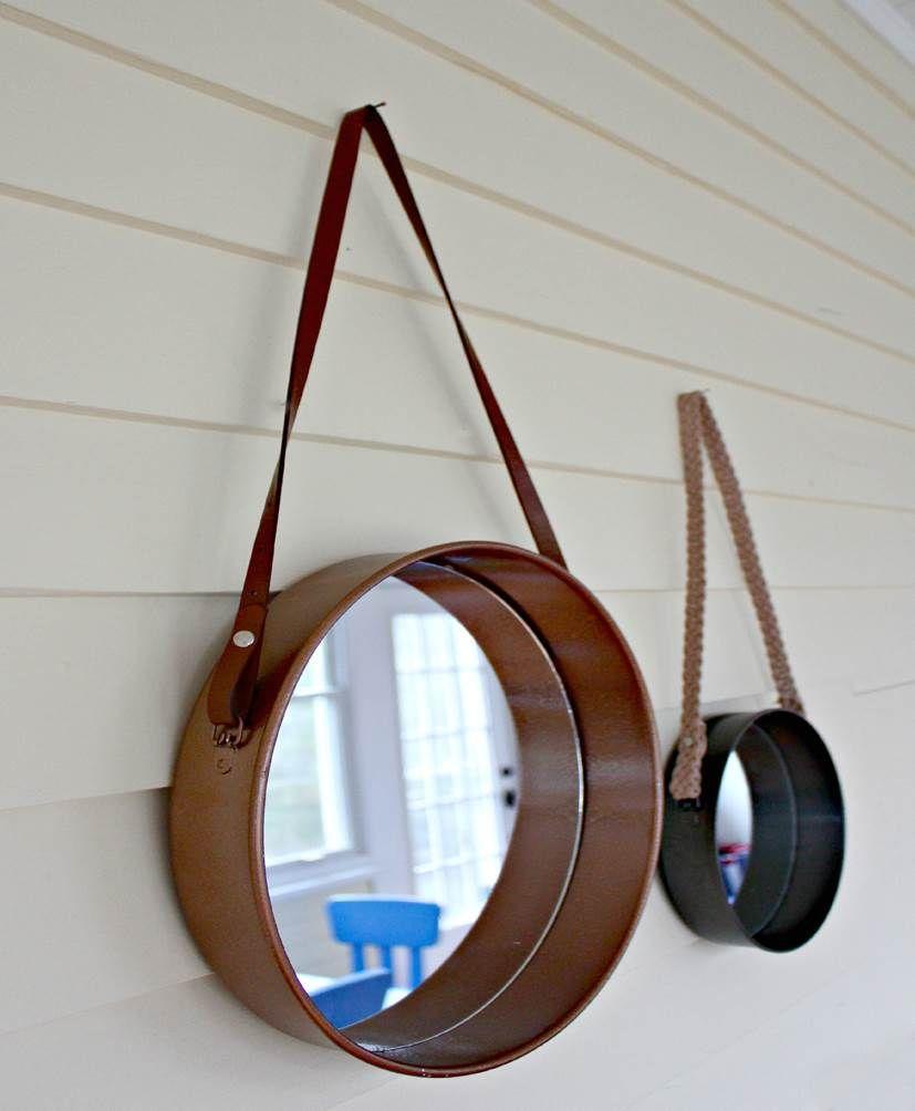 Ronde spiegel met leren band de ronde spiegel in de for Ronde spiegel met touw