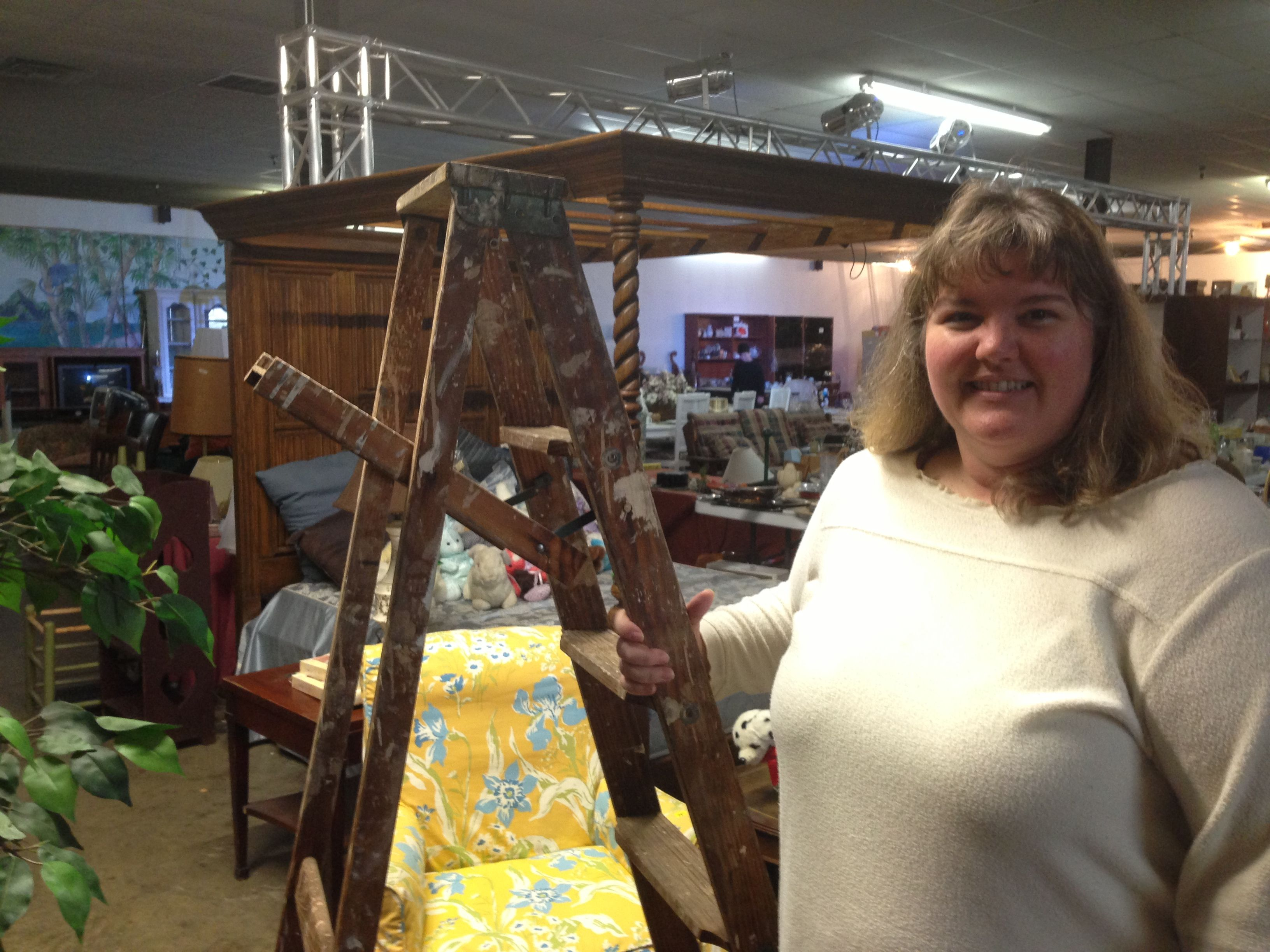 """Looks like a well used ladder, but it's more! Pamela Mallow of Dallas Soap Company   (Pam@dallassoapcompany.com) found this great shabby chic ladder, perfect for creating her table top display for the upcoming Houston """"Junk Hippy"""" show. The show is regionally based out of Houston, Amarillo, and Oklahoma City, and features handmade and vintage crafts.  No plans to head out of town? Great news! Pamela's handmade artisan soaps are now available at Second Chance Treasures!!"""