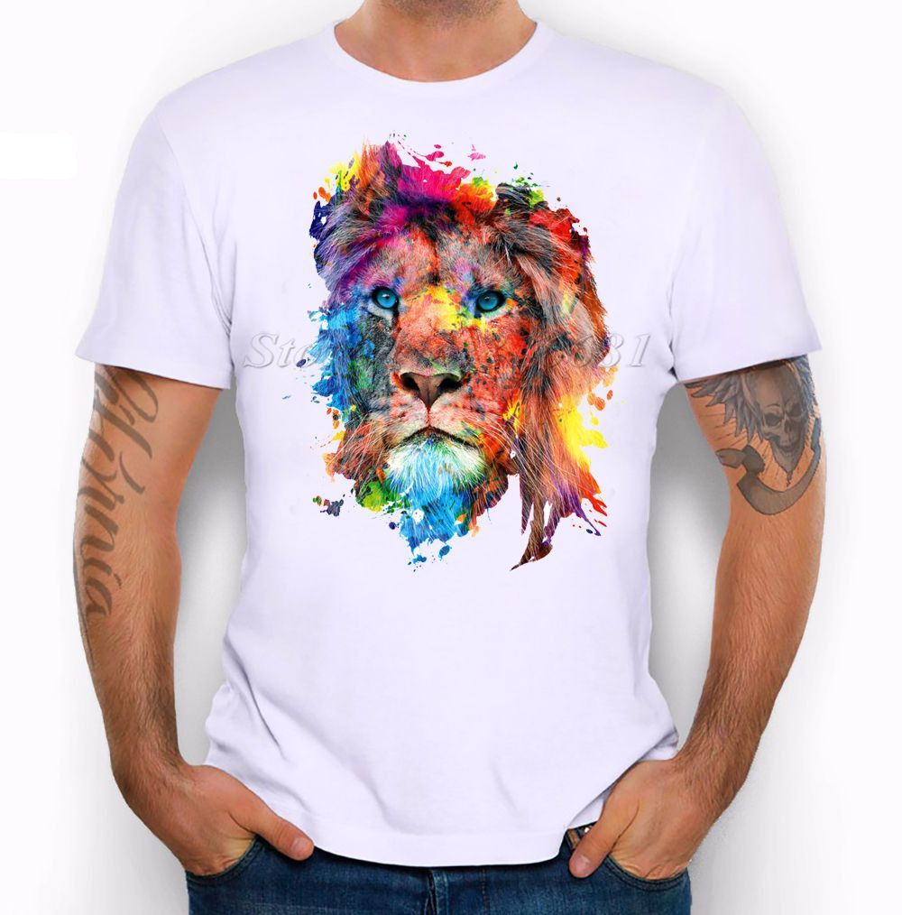 f6ce71be Summer Custom Lion/Owl/Wolf/Tiger/Cat Design T Shirt Men's Watercolor  Animal Graphics Printed Tops Hipster Tees
