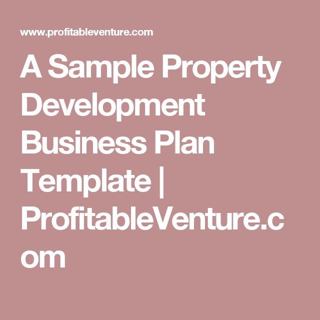 A sample property development business plan template a sample property development business plan template profitableventure cheaphphosting Image collections