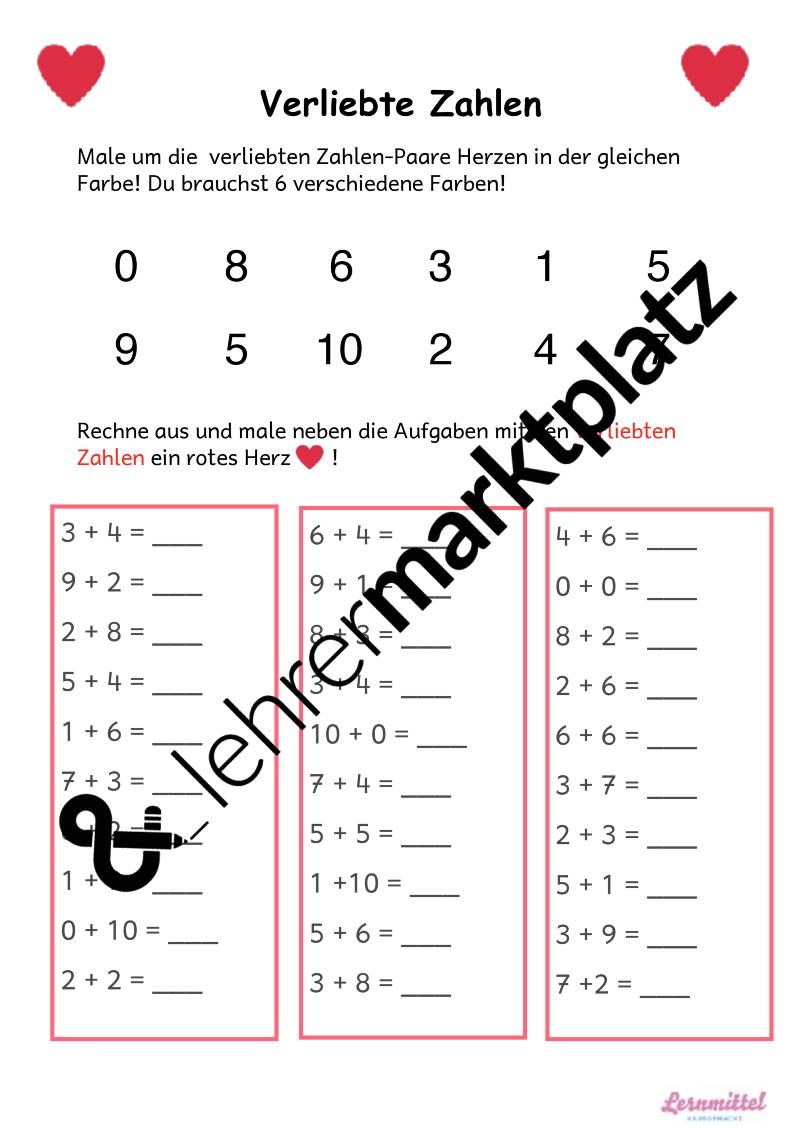 Dieses Arbeitsblatt ist für den Mathe-Unterricht Klasse 1 und kann ...