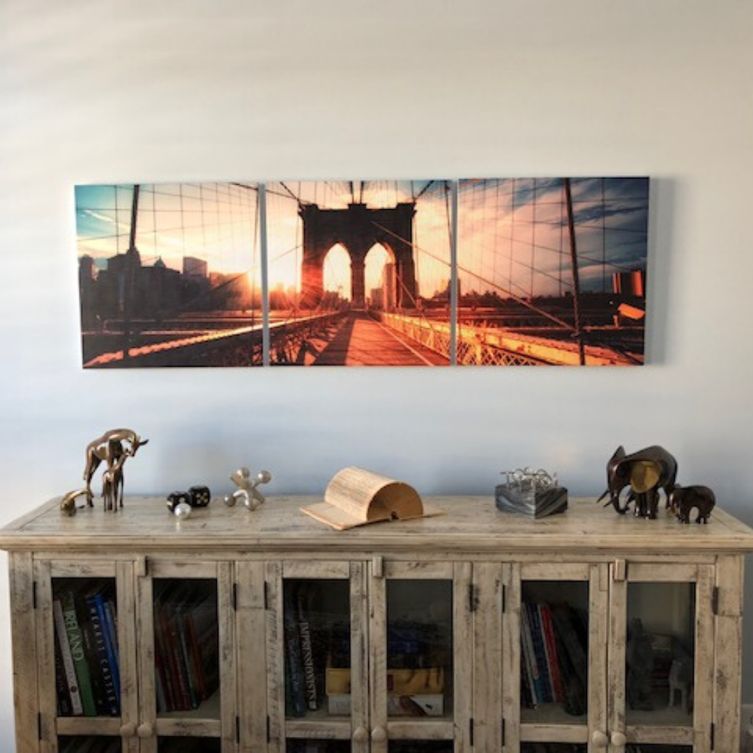 Check Out That Brooklyn Sunset In 3 Panels Thanks Michael For Sending Send Us The Elementem Prints On You In 2020 Gotham City Skyline City Scene Unique Wall Decor