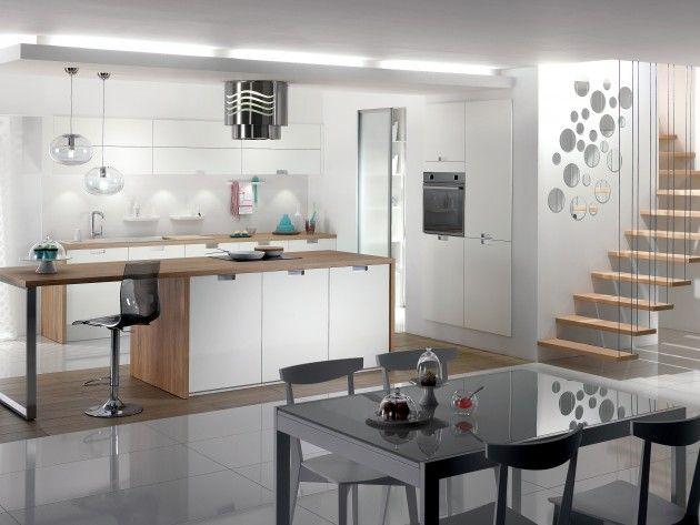 cuisine blanche et plan de travail bois - Recherche Google cuisine - agencement de cuisine ouverte