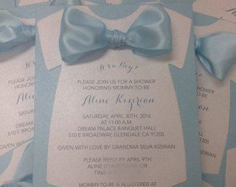 Onesie Baby Shower Invitation Die Cut Baby Boy Por Thefunkyolive