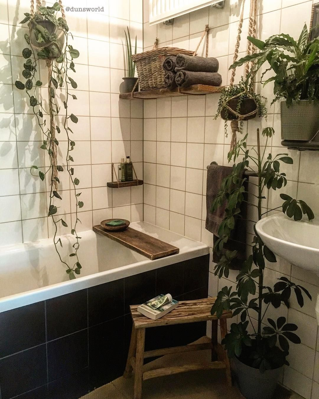 B W Plants Small Bathroom Decor Bohemian Bathroom Bathroom Decor