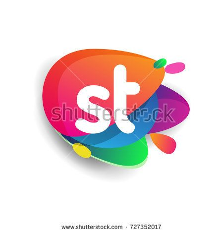 Letter St Logo With Colorful Splash Background Letter