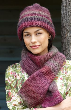 Striking Hat And Scarf In Lion Brand Amazing Yarn Love The Set And