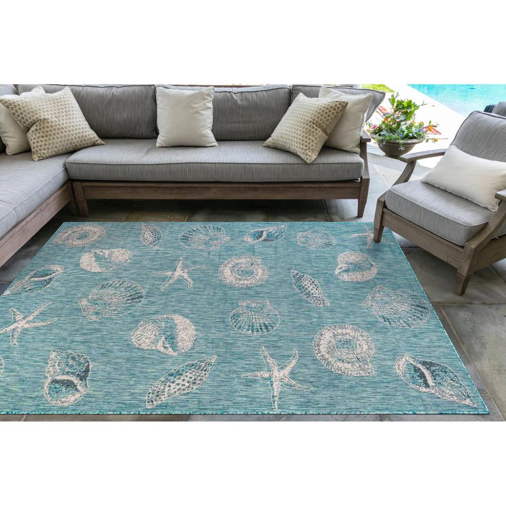 Aqua Carmel Seashell And Starfish Rug Outdoor Area Rugs Coastal Inspired Rugs Indoor Outdoor Area Rugs [ 1000 x 1000 Pixel ]