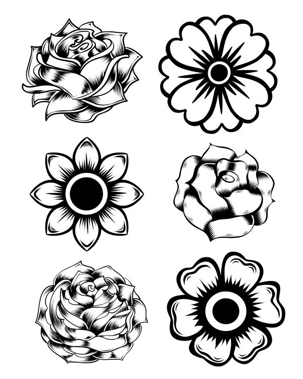 free printable rose and marigold flowers coloring page - Pictures Of Flowers To Color Free Printables