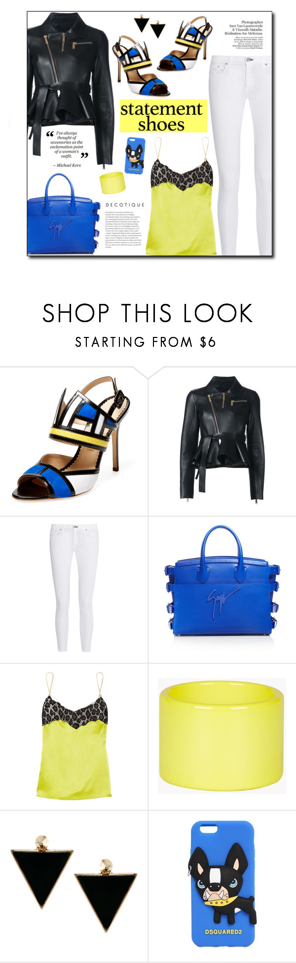 """""""#815 - Double Take: Statement Shoes"""" by lilmissmegan ❤ liked on Polyvore featuring Aperlaï, Dsquared2, rag & bone, Giuseppe Zanotti, Versace, ASOS and statementshoes"""